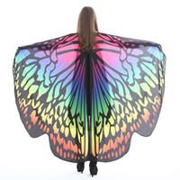 Женщины крылья бабочки костюм Хэллоуин плащ шарф шаль Мыс обернуть шарфы 2019 косплей бабочка фея платья