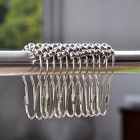 Novos Anéis de Cortina de Chuveiro Ganchos de aço Inoxidável Banheiro Clipe Fácil Glide Ganchos Polido Cortina de Chuveiro Anéis Cortina Ganchos LX4926