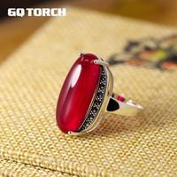 Gqtorch Argent 925 exagéraient grande vert agate rouge rubis Anneaux pour les femmes Vintage Bague Fine Jewelry J190706