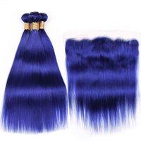 نوعية جيدة نقية أزرق مستقيم ريمي الإنسان لحمة الشعر 3 نسج حزم مع 13x4 الرباط أمامي إغلاق شحن مجاني
