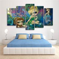 5 pannelli di fata di arte della parete su tela per ragazze Camera HD stampa su tela pittura moda appesi immagini AJILE