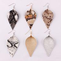Boho Style Print Schlangenhaut Leder Blatt Ohrringe für Frauen Bohemia Schmuck Einzigartige Aussage Leder Drop Ohrringe