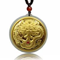 Joyería fina 24 K placa de dragón de oro con incrustaciones de wada jade collar colgante temperamento de moda accesorios regalos envío gratis