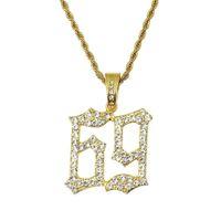 الهيب هوب رقم 69 الماس قلادة القلائد للرجال سبائك ذهبية فضية حجر الراين الفاخرة 6ix9ine قلادة الكوبي سلسلة الأزياء والمجوهرات