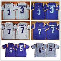 NCAA LSU النمور كلية 5 Derrius Guice Jersey 7 Leonard Fournette 16 Danny Etling الأرجواني الأبيض 3 Odell Beckham Jr Football Jerseys