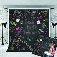 Sonho 5x7ft volta à escola de Fundo Padrão dos desenhos animados Fotografia Blackboard Fundo para Crianças Escola Atire Theme Studio Prop 1.5x2.2m