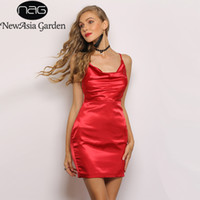 NewAsia Jardin Deux Couches Brillantes Satin Mini Robe Femmes Élastique Moulante Col Bénitier Robe Camis Sexy Party Tight 2019 Robe