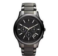 새로운 남성 석영 크로노 그래프 블랙 세라믹 시계 AR1451 AR1452 신사 손목 시계 + 원래 상자