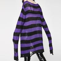 2019 mujeres suéter largo jersey a rayas sueltas chaquetas de invierno agujero suéteres jerseys de punto sweter goth