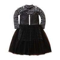 INS Девушка Костюмы детские нарядов полоса рубашка + искусственной кожа Платье 2pcs дети дизайнер одежды девочки A8974