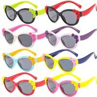 Kinder Sonnenbrillen Jungen Mädchen Kinder Silikon-Sicherheits-Blumen-polarisierte Sonnenbrillen NEU
