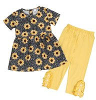 SUNNER NEW GIRLS SUNFLOWER FULL PRINT TOP DRESSES & BABY YEL...