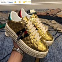 401202 water drill layer leather upper gold SNEAKERS Dress S...