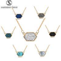 Новое прибытие Druzy камень Смола ожерелье Геометрическая Красочный Позолоченная Природный камень Шарм Подвеска для женщин девушек ювелирных изделий способ-Y