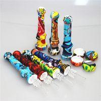 Fumar Muliti Color Silicon Nectar Collector 14mm Junta con uñas de cuarzo Tubería de silicona Rigs de aceite Dabber Herramientas