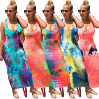 Ecoine Tie Dye Print Sexy Dress Abito lungo Backless Bandage Maxi Abiti senza maniche Vintge Vestidos Beach Party Club Outfis Sundress