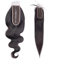 2x6ブラウンスイスレースクロージャーバージンブラジル人間の髪の延長ストレートボディウェーブ安い工場中間部分最高品質のヘアスタイル