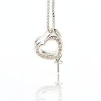 S925 Sterling Silver Pearl Pendants Setting Collane Ciondolo Supporto supporto Zircone Love Heart Collana Impostazioni