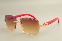 2019 nuova lente incisione quadrato di vendita di trasporto degli occhiali da sole 8300177 occhiali da sole, sole di modo visiera, occhiali da sole tempio di legno rosso naturale