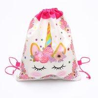 Мультфильм Unicorn Drawstring сумка Нетканые Sling Сумки Детские рюкзаки Unicorn мешок школы Мальчики Девочки Мешочек Party День рождения Подарки Лучшие