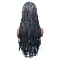 18-24 pouces haute densité tressé avant de lacet perruques boîte perruques de fibres synthétiques épaisse complète main Twist cheveux synthétiques Micro Havane Twist perruques