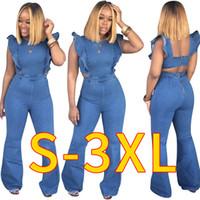 2019 mais novo Casual Primavera-Verão Mulheres Jeans Fatos-macaco Ruffles mangas Zipper Sem Costas Moda Longo Alargamento calças jeans Jumpsuits