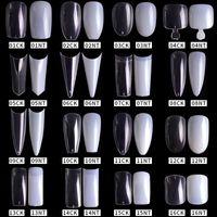 500pcs / pack Doğal Şeffaf Yanlış Akrilik Tırnak İpuçları Tam / Yarım Kapak İpuçları Fransız Keskin Tabut Balerin Sahte Çiviler UV Jel Manikür Araçları