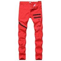 2020 Europa e América New Style Men Zipper Casual Jeans três cores com buracos Zipper Slim Fit Straight-Cut nan shi ku