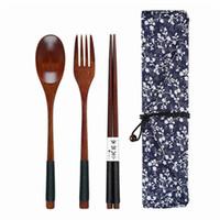 Nuevo Set de cubiertos de estilo japonés Cuchara Tenedor Palillos bolsa de tela de madera natural