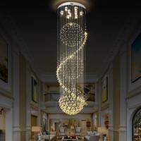 Modern K9 Kristal Avizeler LED Kristal uzun Merdiven Kapalı Avize Uzun Merdiven Villa Otel koridoru Aydınlatma Armatür lambalar