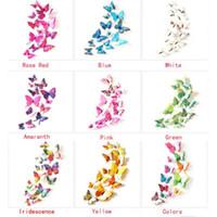 9 цветов 3D бабочка Главная Рим свадьба дек стены искусства наклейки 24 шт. / лот фото реквизит