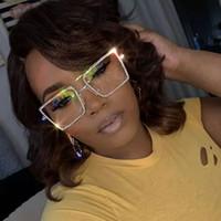 occhiali da sole quadrati Retro grandi donne della struttura stradale specchio punto diamante piano girato trasparente glasse del sole lente