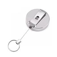 Retractable Schlüsselanhänger Metall-Karten-Abzeichen-Halter-Gurt-Klipp-Schlüsselring-Metallschnalle Recoil Ring-Pull-Geschenk HHA1266