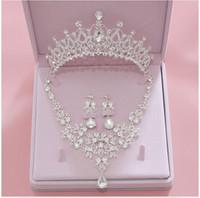 Bling bling set coroas colar brincos de liga cristal lantejoulas de jóias nupcial acessórios de casamento tiaras headpieces cabelo