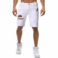 New Style Cool Men Short Jeans 2019 Verão Casual Slim Fit Shorts Jeans Bordado dos homens Drawstring Denim Shorts