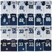 NCAA Vintage Futbol 21 Deion Sanders Jersey 8 Troy Aikman 22 Emmitt Smith 33 Tony Dorsett Randy Beyaz Michael Irvin Roger Staubach Donanma