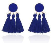 Yeni Bohemya Beyanı Kadınlar Düğün Uzun Saçaklı Küpe Takı Hediye GB1413 için Püskül Küpe Altın Renk Yuvarlak Damla Küpe