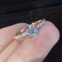 Rose bague en diamant d'or de cristal bagues de fiançailles pour les femmes design de luxe femmes bijoux bagues bijoux ensembles anneaux de mariage de la mode