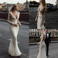 Elegant Mermaid Wedding Dresses Deep V Neck Lace Applique Ro...
