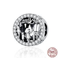 Adapta-se ao Love Pandora Europeu faz uma família Charm Bead com CZ Bangle Jewelry Bracelets Colares Pingentes Real Sterling Silver 925