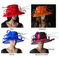 2020 New Exclusive Design Wide Brim Church Hat Cappello Sinamay Cappello Hatinator Fascinator di nozze Fedora Kentucky Derby Cappello per Ascot Races, Church