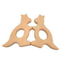 200 шт. Бук деревянный кенгуру форма прорезыватели природа детские прорезывания зубов игрушки органического дерева прорезывания зубов держатель кормящих ребенка подарок кулон решений