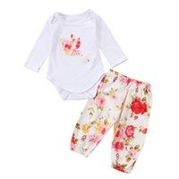 2PCS Vêtements de bébé Set Filles Floral Nouveau-né tout-petits oiseaux filles de coton Romper Pantalons floraux Vêtements Tenues Set