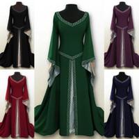 Langarm Damen Hohe Kragen Mittelalterlichen Kleid bodenlangen Kleid Cosplay Sehr cool tragen Mehr schöne und Vitalität