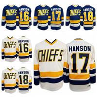 Frakt från oss Hanson Brothers # 16 # 17 # 18 Charlestown Chiefs Slap Shot Movie Men Hockey Jersey All Stitched S-3XL Hög kvalitet