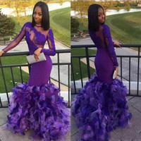 Purple Charming Mermaid Prom Dresses Long Sleeves Jewel Shee...