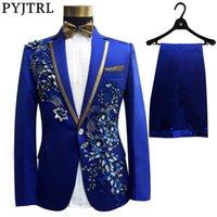 PYJTRL Üç Parça Set Suit Erkek Şarkıcılar Sahne göster Pullarda İşlemeli Çiçek Kırmızı Mavi Pembe Düğün Suit Kostüm Homme gerçekleştir