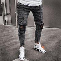 Erkek Kot Kar Gri Kıvılcım Draped Yıkanmış Uzun Kalem Pantolon Moda Trend Elastik Diz Delik Fermuar Jeans