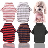 소 중 개 XS-2XL 탄성 바닥으로 셔츠 애완 동물 개 스트라이프 의류 목화 따뜻한 겨울 T 셔츠 고양이 강아지 의상 의류