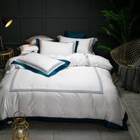 Hôtel 5 étoiles luxe blanche 100% coton égyptien Literie pleine Reine King Size Housse de couette Lit / drap plat Aménagée Ensemble de draps